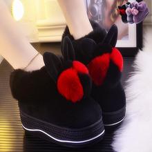 棉拖鞋fu包跟冬季居et可爱毛毛鞋时尚毛口毛拖防滑保暖月子鞋