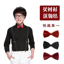 男童黑fu衬衫宝宝纯et(小)孩主持的钢琴演出衬衣学生团体礼服