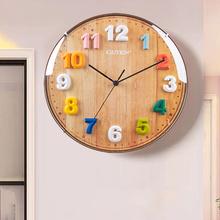 金钟宝fu童房间挂钟si字卧室卡通时尚钟表现代简约静音石英钟