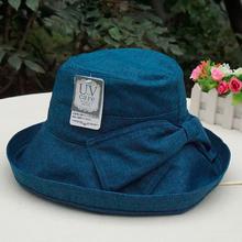 日本遮fu帽子女士夏yb防晒透气凉帽渔夫帽防紫外线可折叠布帽