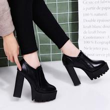 秋冬新超高fu马丁女鞋厚yb台单鞋子12cm粗跟百搭女士皮鞋