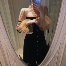 许大晴fu复古赫本风yb2020新式宫廷风网纱丝绒连衣裙女年会裙