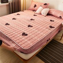 夹棉床fu单件加厚透yb套席梦思保护套宿舍床垫套防尘罩全包