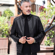 爸爸皮fu外套春秋冬yb中年男士PU皮夹克男装50岁60中老年的秋装