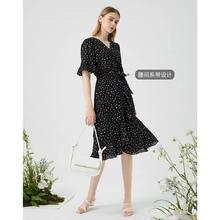 拉夏贝尔黑色波点雪纺连衣裙2021fu14夏季新in荷叶边长裙子
