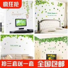 (小)清新fw色树叶子墙gc纸厨房餐厅卧室电视背景装饰墙贴绿叶贴