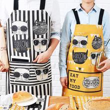可爱卡fw棉麻围裙男lm厨房做饭围腰烘焙餐厅防油工作服女罩衣