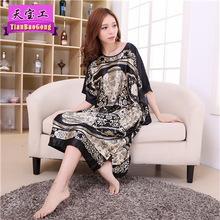夏季女fw睡裙休闲宽hz服圆领睡袍蝙蝠袖大码睡裙