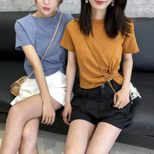 纯棉短fw女2021hz式ins潮打结t恤短式纯色韩款个性(小)众短上衣