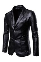 休闲商务春秋新款男士修身fx9领外套Pww男翻领主持的皮衣西装