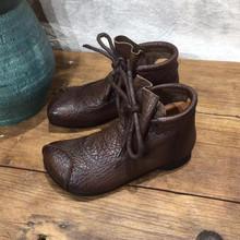 艺�2fy20秋冬新pb女短靴全真皮软皮软底牛皮女鞋方头系带女靴