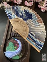 日款和风fy世绘神奈川pj士山折日本和扇男女工艺扇礼品夏