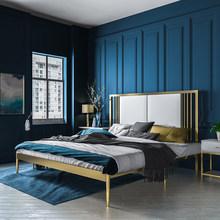铁金色fz艺床公主铁kqns风单架网红床1.5双的铁艺钢木床