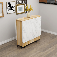 简易多fz能吃饭(小)桌nn缩长方形折叠餐桌家用(小)户型可移动带轮