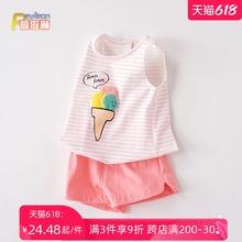 0-1-3岁女宝宝背心fz8裤套装洋pw幼儿潮衣服夏季薄夏装婴儿4