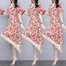 夏季新品(小)香风条g05不规则前80尾中长裙雪纺短袖连衣裙
