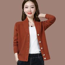 春秋式g0搭针织V领vr套毛衣女装纯色休闲长袖短式显瘦针织衫