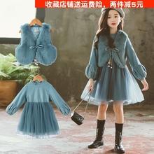 女童洋g35加绒6-3d秋冬装8(小)学生9十12岁女孩13宝宝公主连衣裙