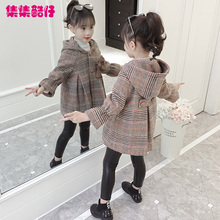 女童呢ga大衣秋冬2pu新式韩款洋气宝宝装网红中大童加厚毛呢外套
