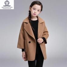 女童毛ga外套中长式pu冬装韩款2020新式中大童宝宝装呢子大衣