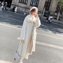 羊羔毛外套女2020ga7冬新式棉ax过膝宽松加厚白色毛绒绒棉服