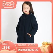 雅童(小)ga 藏青色女ur呢连帽大衣冬季宝宝厚外套