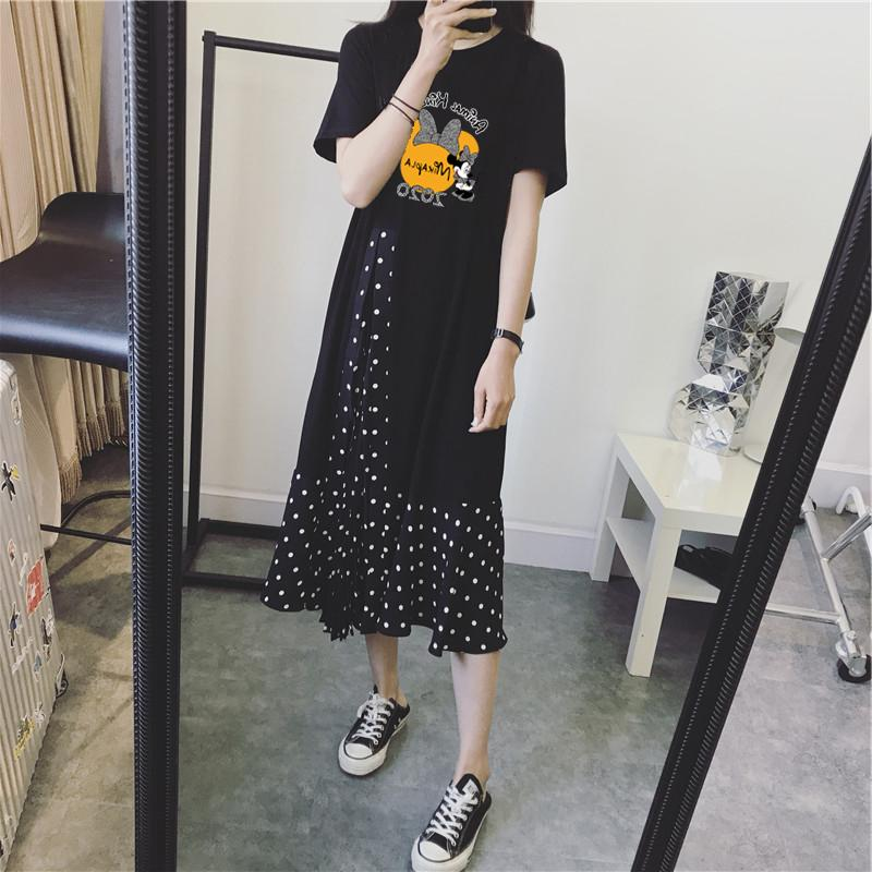 2020韩款ga3妇夏装连ur式短袖时尚式宽松外出雪纺纯棉裙子潮