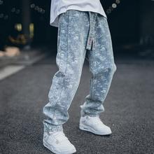 PRBgaMS潮牌满dh裤嘻哈国潮宽松长裤街头重工水洗做旧裤子男女