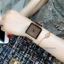 古欧GgaOU方形女ng潮流时尚简约女士百搭镶钻时装手表日历腕表