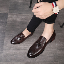 202ga春季新式英le男士休闲(小)皮鞋韩款流苏套脚一脚蹬发型师鞋