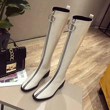 白色长ga女高筒潮流de020新式欧美风街拍加绒骑士靴前拉链短靴