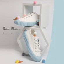 飞跃海ga蓝饼干鞋百et女鞋新式日系低帮JK风帆布鞋泫雅风8326