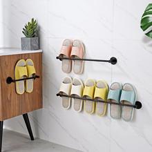 浴室卫生间拖鞋架墙壁挂式免打孔钉收gb14神器放gc门后架子