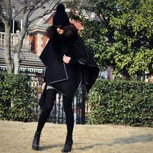 春季女gb新式欧美拼sw面羊毛呢子斗篷披肩毛呢外套中长式大衣