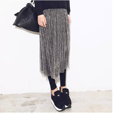 打底连gb裙灰色女士zq的裤子网纱一体裤裙假两件高腰时尚薄式