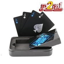 创意黑色铁盒塑料扑克防水gc9折水洗德tx钓鱼清仓包邮可定制