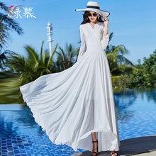 雪纺连gd裙2021wx式气质V领优雅大摆收腰修身显瘦淑女夏长裙