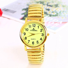 老的松gd弹簧带手表fw清晰数字中老年的腕表防水石英表男女表