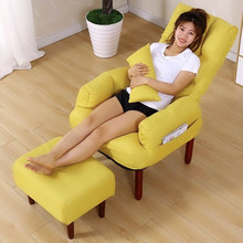 单的沙gd卧室宿舍阳ix懒的椅躺椅电脑床边喂奶折叠简易(小)椅子