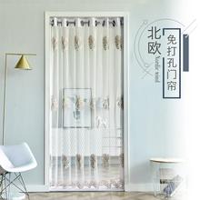 门帘隔gd帘家用免打kn纱网蕾丝门帘纱门卧室防蚊虫简易伸缩杆