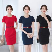 夏季短ge女装连衣裙mo圆领工作服 大码纯色工装 职业装