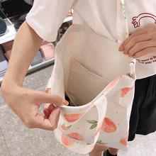 女单肩ge020新式ce季时尚(小)清新水果学生手提帆布袋ins