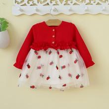 (小)童1ge3岁婴儿女tu衣裙子公主裙韩款洋气红色春秋(小)女童春装0