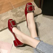 女鞋2ge20新式春yi搭结婚鞋酒红仙女低跟粗跟单鞋孕妇敬酒婚鞋