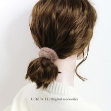 GUKgeA LI(小)de设计手工制作糖果色毛防兔毛发绳发圈