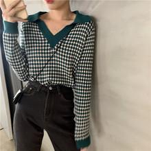 上衣女ge款新式泫雅ge撞色针织衫2020春装复古格子长袖毛衣潮