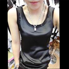 夏装新ge女式上衣桑lu带衫真丝吊带(小)背心打底衫丝绸(小)背心女