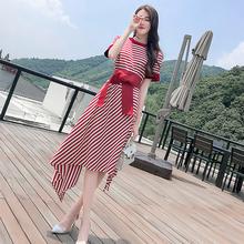 气质长ge2020夏lu韩款显瘦高腰智熏裙短袖法式条纹连衣裙女夏