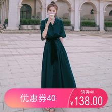 墨绿色ge式复古桔梗mo女夏2020新式长式气质显瘦高腰雪纺长裙