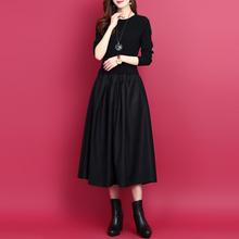 韩款拼ge假两件连衣ti式2019秋冬显瘦打底裙纯色长袖针织裙子